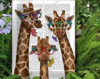 Safari animal print - Giraffe flower glasses trio  - Giraffe baby nursery Giraffe kids room Nursery wall giraffe Giraffe wall art Cute gift