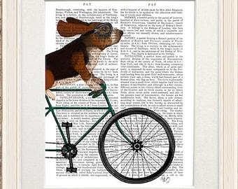 Basset print -  Basset hound on bicycle - Basset decor Dog gift Painting of dog Dog print poster Dog decor for home Dog lover Pet lover gift