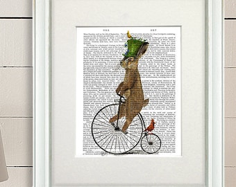 Alice in wonderland poster Alice art gift for alice lover - March Hare on Penny Farthing -  wonderland theme Alice in Wonderland décor