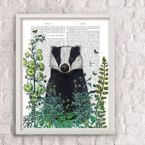 Woodland Nursery Decor Baby Animal Watercolor Gray Art Badger Art Print Wisconsin Badgers Gift for Mom-to-Be Shower