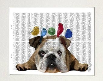 English bulldog print - English bulldog birds - Bulldog art gift English bulldog lover Bulldog art Bulldog gift idea Cute English bulldog