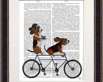 Basset decor -  Basset hound tandem - Basset print Prints of dogs Dog lover gift Dog painting Tandem bike Tandem bicycle Bike wedding gift