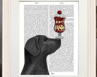 Labrador retriever decor -  Black labrador Ice cream dog - Black labrador print Black lab lover Black labrador wall art Black lab gift