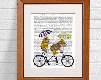 Umbrella art print -  English bulldog on tandem - Umbrella wall art Umbrella print Umbrella decor Tandem bike Tandem bicycle Cycling Cyclist