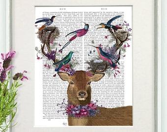 Deer art -  Deer bird keeper tropical bird nests -  Deer head art print Stag print Deer print art Deer home art Bird painting Bird lover