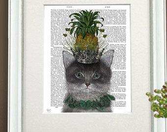 Grey Cat Wall Art - Pineapple Puss - Cat home decor cute gift cat lover gift Nursery Art for Kids Room Décor funny wall art Whimsical art