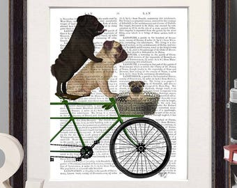 Pug print - Pugs on bicycle - Cute pug art pug dog art Unique pug gift Pug lover gift Pug dog Pug gift Pug print art Prints of dogs Cycling