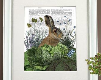 Rabbit illustration -  Cabbage patch rabbit 3 - Bunny decor Rabbit poster Rabbit art Bunny gift Woodland nursery art Bunny rabbit Bunny gift