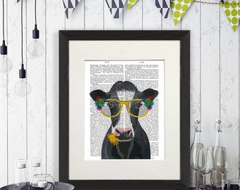 Beautiful Cow Print Art   Cow Flower Glasses   Cow Art For Walls Cow Painting Cow  Head Wall Art Dairy Cow Print Cow Print Wall Art Cow Canvas Painting