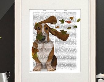 Basset print - Basset hound windswept and interesting - Basset decor Mom dog gift Gift for dog lover Pet lover gift Boyfriend dog gift