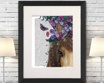 Home decor - Horse madhatter close up - Canvas horse art Horse lover gift Contemporary art Colorful print decor Fantasy art Gift for wife