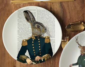 Bone china plate Lieutenant Hare - hare plate decorative plate unusual gift dinner plate gift for rabbit lover wall plate unusual tableware