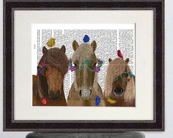 Horse art decor- Horse trio with flower glasses - Horse print Horse wall art decor Horse lover gift Horse wall art large Canvas horse art