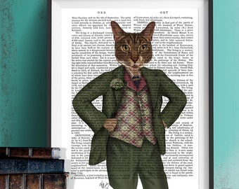Anthro art - Cat in Tartan Waistcoat  cat print anthropomorphic art pop surrealism lowbrow art cat wall art cat in suit scottish cat art