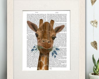 Nursery wall giraffe - Chewing giraffe 2  -  Giraffe print decor kids giraffe decor Uk seller Giraffe wall art Giraffe room decor Uk shop