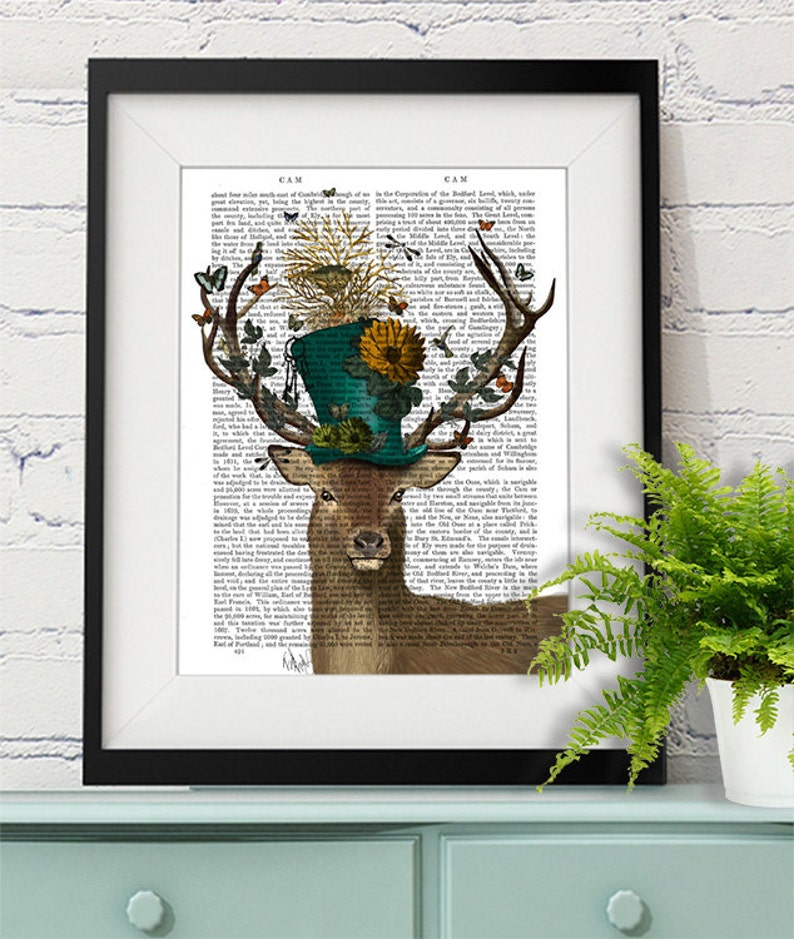 Deer Print  Mad Hatter Deer  Deer illustration deer Print image 0