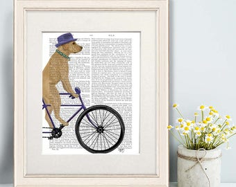 Yellow lab -  Yellow labrador on bicycle - Office gift Office decor Dorm decor Home office decor Office wall art Office gift for her Dog art