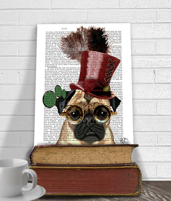 Steampunk Dog Steampunk pug top hat pug art print pug wall  fd2114199bc8