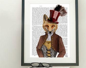 Fox Poster - Vivienne Fox Print - fox art foxy lady funny animal gift for girlfriend Kids room wall art fox wall art Whimsical Animal art
