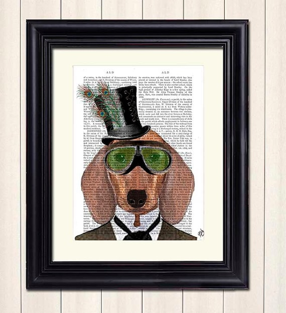 Steampunk Art Print Dachshund Green Goggles Steampunk Dog Art  e1b4c6fe02f7