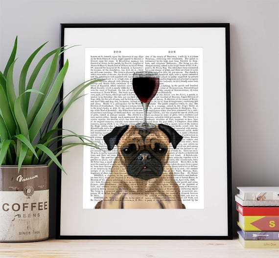 Pug Dog Au Vin Pug dog art pug lover cute pug dog pug art pug  9d8377442dd0