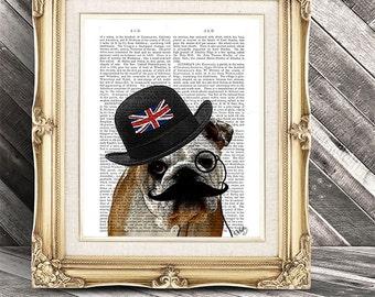 British Bulldog Print Art Print Digital Illustration Original Painting Dog Art Dog Print Bowler Hat Union Jack wall art wall decor hanging