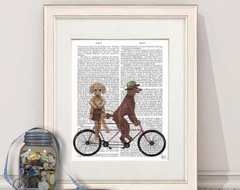Couple gift - Poodle on tandem - Tandem bike Tandem bicycle Country couple gift unique couple gift Housewarming gift Valentine gift Dog gift