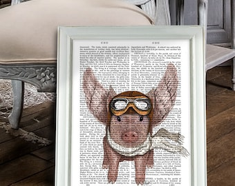 Flying Pig Print - Pig with wings - pig gift for pig lover pig Illustration pig Drawing pig Poster pig Wall Art Wall Hanging Digital poster