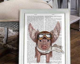 Vuelo regalo impresión de cerdo - cerdo con alas - cerdo cerdo amante cerdo ilustración cerdo dibujo cerdo cartel cerdo Digital de colgar de la pared pared arte cartel