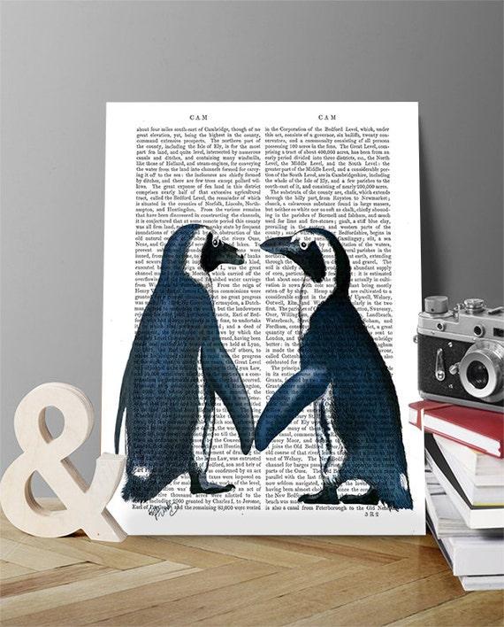 Penguin Poster in Love penguin wall art penguin picture | Etsy