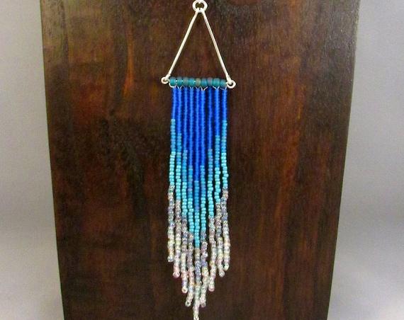 Beaded fringe necklace in blue