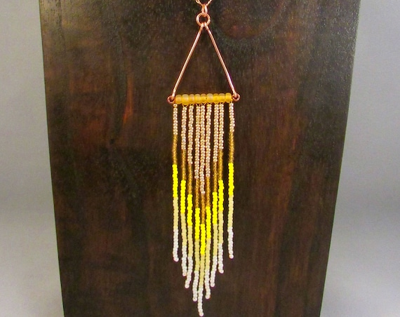 Beaded fringe necklace in yellow