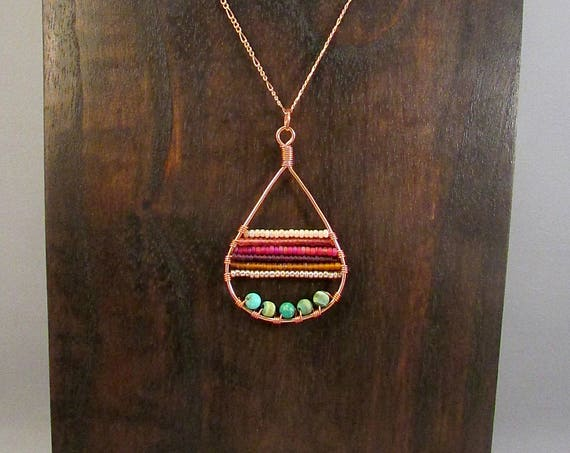 Copper teardrop with beads necklace
