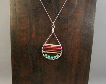 Silver teardrop with beads necklace