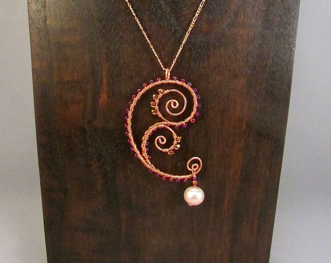 Copper wire wrapped paisley and swirls necklace
