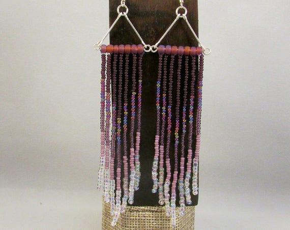 Beaded fringe earrings in purple