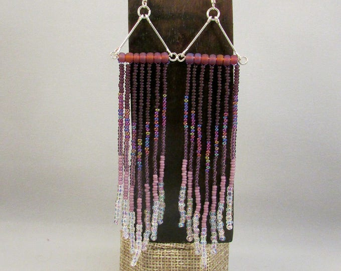 Beaded fringe earrings in purple