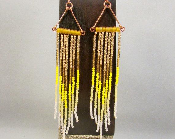 Beaded fringe earrings in yellow
