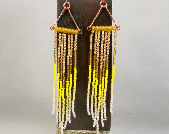 Beaded fringe earrings in yellow