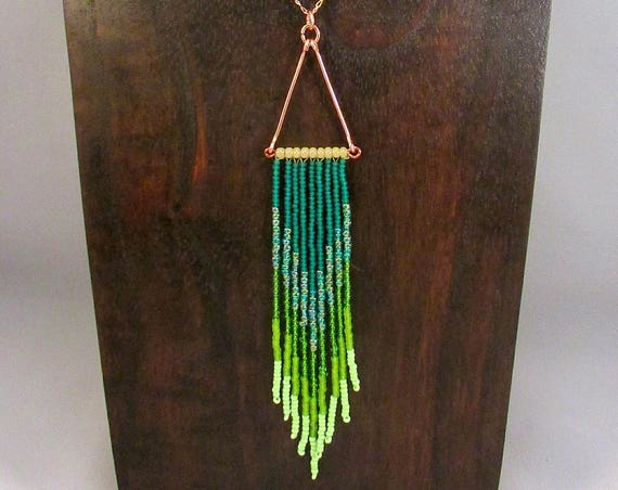 Beaded fringe necklace in green