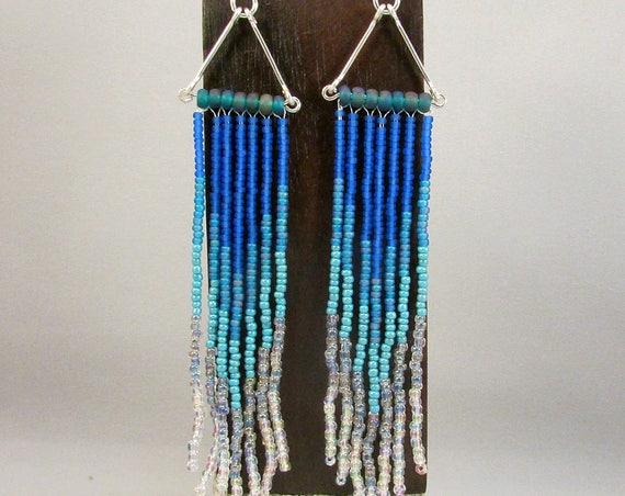 Beaded fringe earrings in blue