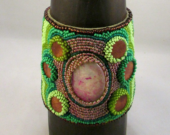 Beaded cuff bracelet with amazonite cabochon