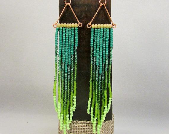 Beaded fringe earrings in green