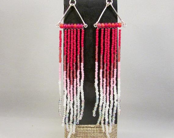 Beaded fringe earrings in pink