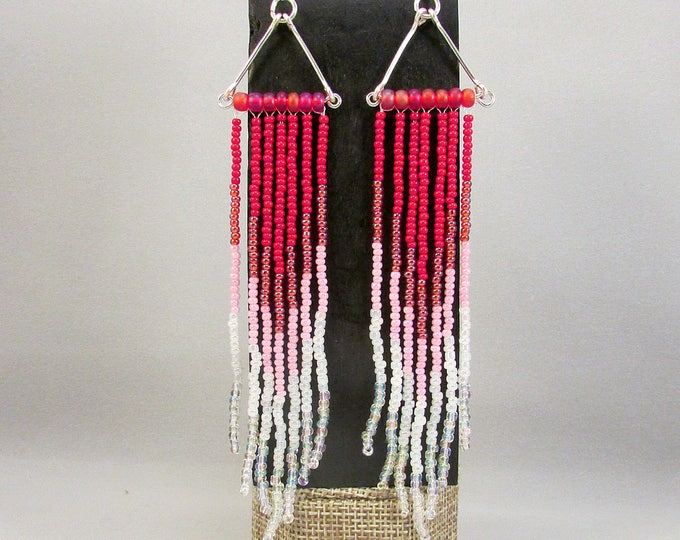 Beaded fringe earrings in pink