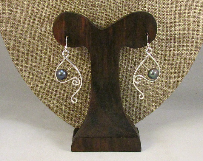 Black pearl earrings with silver swirls