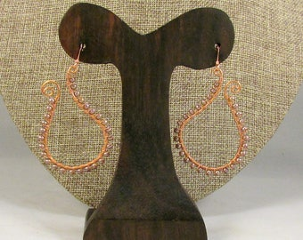 Copper paisley outline earrings