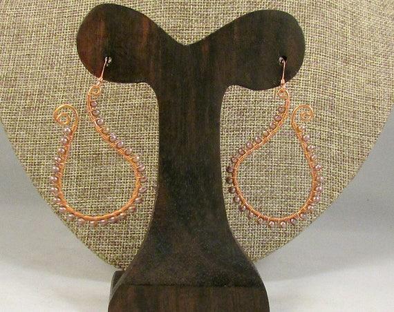 Copper paisley outline earrings