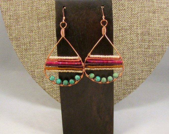 Copper teardrop with beads earrings