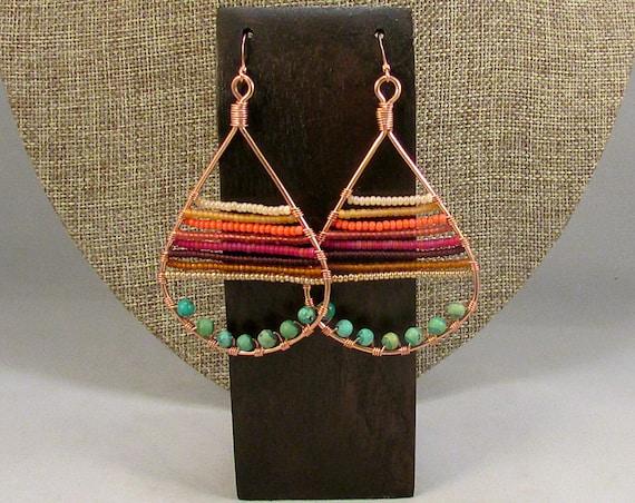 Large copper teardrop with beads earrings